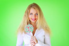 Beautiful girl holding lollipop Royalty Free Stock Photos