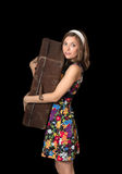 Beautiful girl holding old suitcase Royalty Free Stock Images