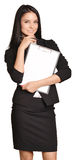 Beautiful girl holding a paper holder in the hand. Royalty Free Stock Image