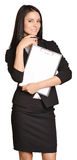Beautiful girl holding a paper holder in the hand. Royalty Free Stock Images