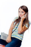 Beautiful girl holding a phone Royalty Free Stock Photos