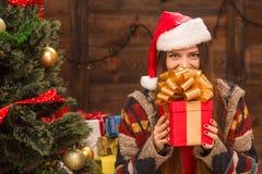 Beautiful girl holding a present near New Year tree Stock Photos