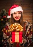 Beautiful girl holding a present near New Year tree Royalty Free Stock Images
