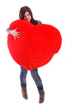 Beautiful Girl Holding Red Heart Stock Photo