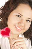 Beautiful girl  holding red heart Royalty Free Stock Photography