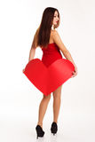 Beautiful girl holding red paper heart Stock Photography