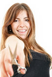 Beautiful girl holding scissors smiling royalty free stock photo