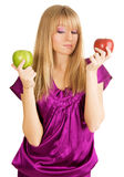 Beautiful girl holding two fresh apples Royalty Free Stock Photography