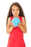 Beautiful girl holding world globe Stock Photos
