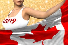 Beautiful girl holds Canada flag in front on the red shining sparks background - Christmas and 2019 New Year flag concept 3d vector illustration