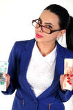 Beautiful girl holds money in hands. Stock Photography