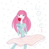 девушка с розой Stock Photo