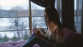 Girl home leisure diary teenage idle lifestyle. Beautiful girl home leisure. teenage idle lifestyle. cute young woman writing in her diary stock photography
