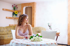 Beautiful girl at home in the morning Stock Image