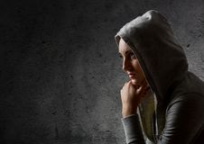 Beautiful girl in a hood Royalty Free Stock Photos