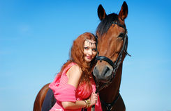 The beautiful girl and horse Royalty Free Stock Images