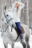 Beautiful girl with horse Royalty Free Stock Images