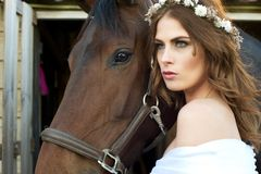 Beautiful Girl and Horse Royalty Free Stock Photos