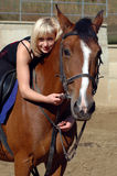 Beautiful girl and horse Stock Photo