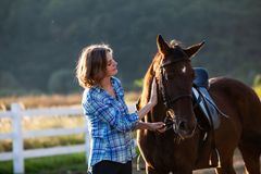 Beautiful girl with horse. Beautiful girl leading her brown horse at the farm Stock Photography