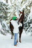 Beautiful girl and horse in winter Royalty Free Stock Photography