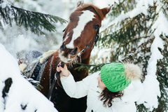 Beautiful girl and horse in winter Royalty Free Stock Images