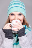 Beautiful girl  with hot drink Royalty Free Stock Image