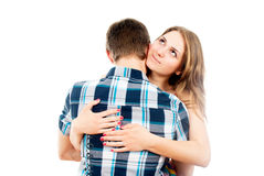 Beautiful girl hugging a loved one guy Royalty Free Stock Images