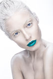 Beautiful girl in the image of albino with blue lips and white eyes. Art beauty face. Royalty Free Stock Photos