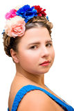 Beautiful girl in the image of Frida Kahlo Royalty Free Stock Images