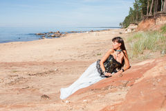 Beautiful girl in the image of a mermaid on beach. Beautiful girl in the image of a mermaid Stock Photo