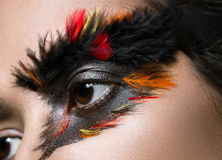 Beautiful girl in image of Phoenix bird with creative makeup. beauty face. Close up Stock Photo