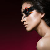 Beautiful girl in image of Phoenix bird with creative makeup. beauty face. Royalty Free Stock Image