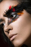 Beautiful girl in image of Phoenix bird with creative makeup. beauty face. Royalty Free Stock Photography