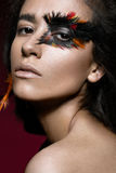 Beautiful girl in image of Phoenix bird with creative makeup. beauty face. Stock Image