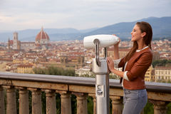 Beautiful girl impressed view the panorama of Florence Stock Photo