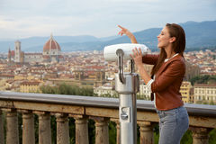 Beautiful girl impressed view the panorama of Florence Stock Images