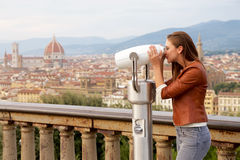 Beautiful girl impressed view the panorama of Florence Stock Photos