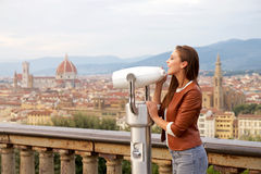 Beautiful girl impressed view the panorama of Florence Stock Image