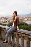 Beautiful girl impressed view the panorama of Florence Royalty Free Stock Images