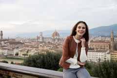 Beautiful girl impressed view the panorama of Florence Royalty Free Stock Image