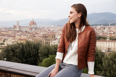 Beautiful girl impressed view the panorama of Florence Stock Photography