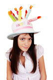 Beautiful Girl In A Funny Hat Royalty Free Stock Image