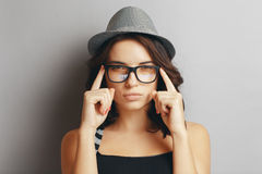 Beautiful Girl In A Hat And Glasses. Royalty Free Stock Photo