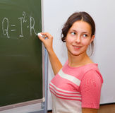 Beautiful Girl In A Physics Class Stock Photography