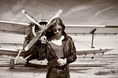 Beautiful Girl In Black Jacket Posing Stock Photo