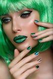 Beautiful Girl In Green Wig Stock Photo
