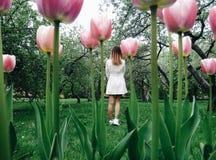 Free Beautiful Girl In Magic Tulip Garden. Alice In Wonderland Stock Photo - 134189820