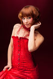 Beautiful Girl In Red Dress Royalty Free Stock Images