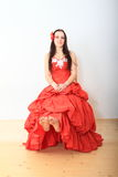 Beautiful Girl In Red Evening Dress Royalty Free Stock Photos